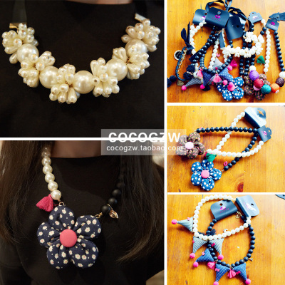 coco Princess House Kids girls 2014 new winter flower pearl necklace sweater necklace lanyards children