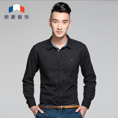 Langmeng 2014 autumn new 100% cotton long-sleeved oxford shirt male Korean Slim solid color shirt