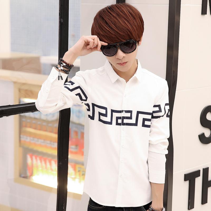 2015春秋新款男士韩版纯色衬衫青少年长袖薄款衬衣修身学生纯棉装