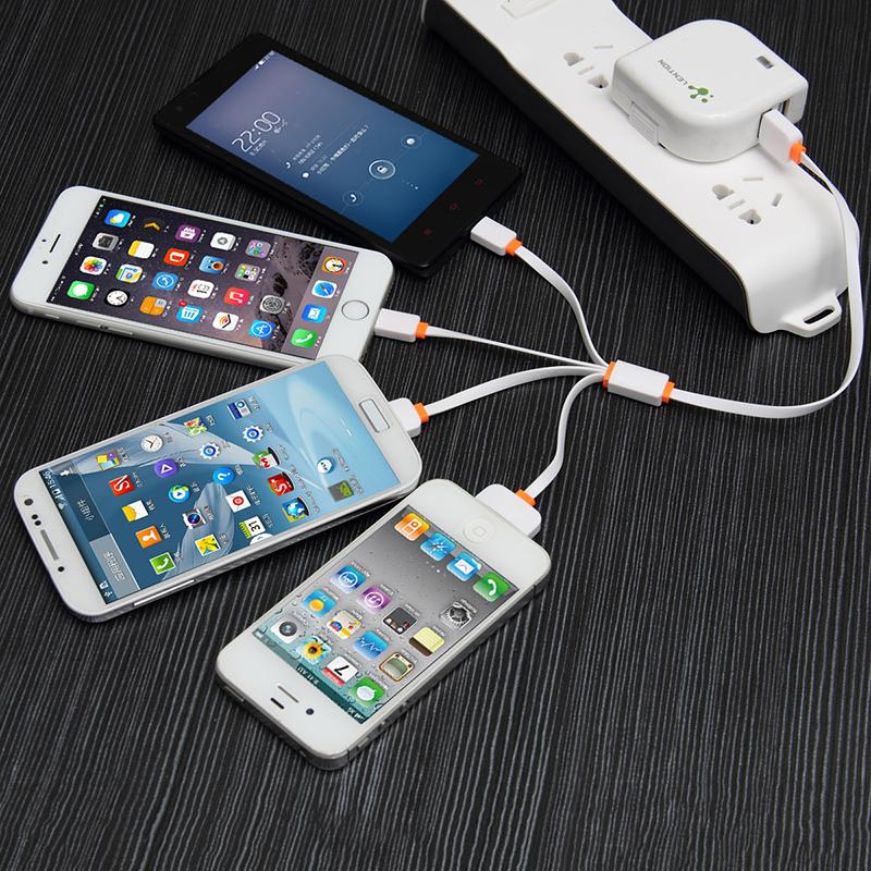 Lention/蓝盛 一拖四多功能usb充电线 苹果三星手机充电宝专用