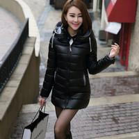 【今日特卖】秋冬新款OL修身韩版中长款PU皮羽绒棉服棉衣女 包邮