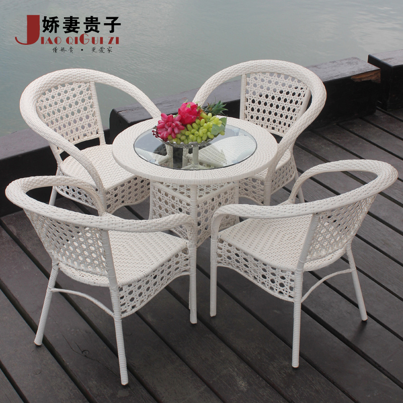 Most popular pure white outdoor rattan furniture rattan tabl.