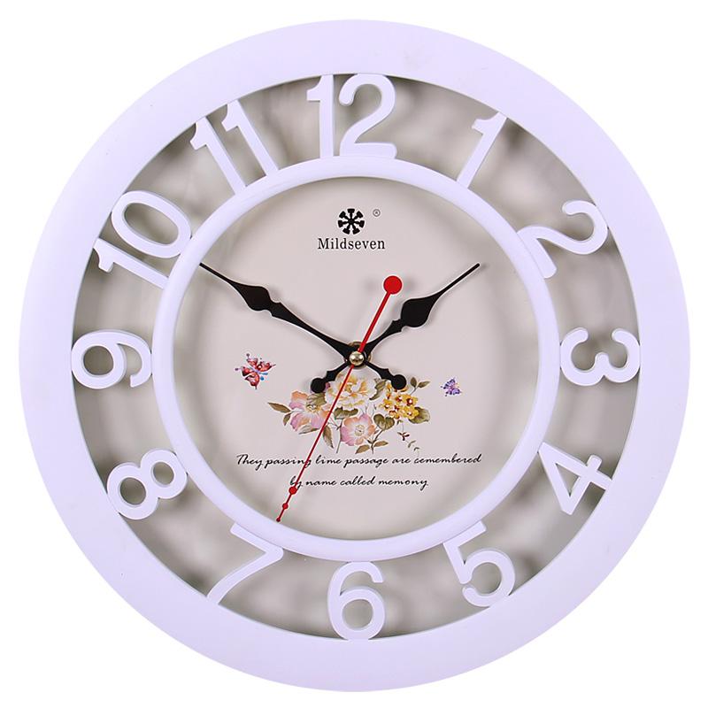 七王星圆形静音钟表欧式挂钟卧室客厅装饰艺术电子壁钟挂表石英钟