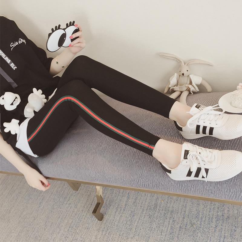 2017春季女装休闲条纹修身打底裤女长裤韩版外穿显瘦小脚铅笔裤子