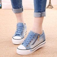梦赛2015夏季新品帆布鞋女韩版潮牛仔布鞋内增高厚底女板鞋侧拉链