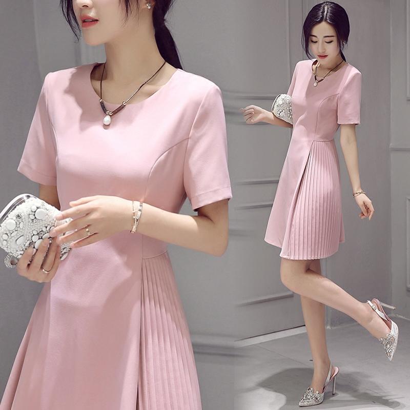 2016夏装新款韩版修身a字裙显瘦百褶中长款雪纺粉色短袖连衣裙女