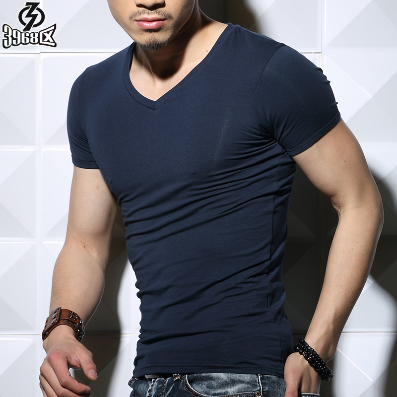 3968 district v neck t shirt men short sleeve solid color for Tight collar t shirts