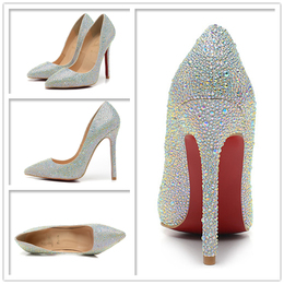 wedding shoes red bottom women high heels diamond shoes