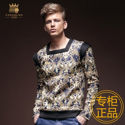 Givenchy spring tide male long-sleeved T-shirt thick square collar male retro art space cotton T-shirt British style original