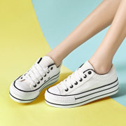 厚底白色帆布鞋女百搭板鞋学生平底大码布鞋山本风松糕鞋