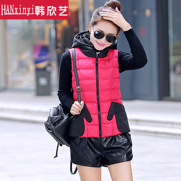 2014 new autumn and winter, Ms. vest cotton vest female Korean fashion hooded thick warm-hand waistcoat pocket