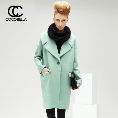 COCOBELLA 2014 winter new European oversize cocoon silhouette female woolen coat long section CT74