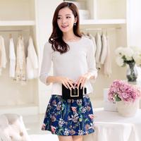 2015春装新款韩版两件裙套装 七分袖百搭复古印花时尚休闲裙 女装