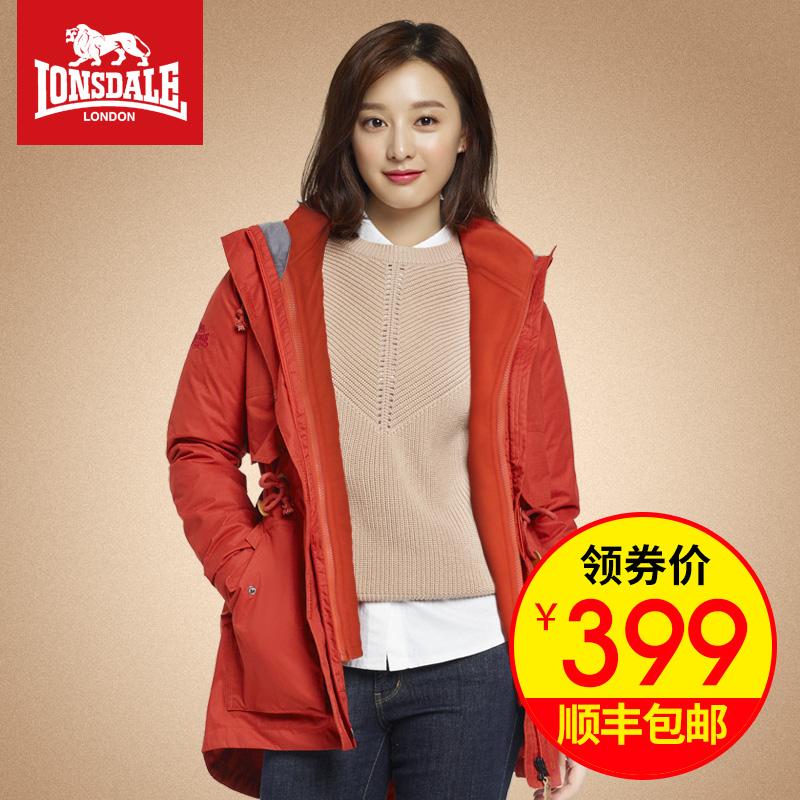 龙狮戴尔冬季冲锋衣女三合一两件套中长款防风衣抓绒加厚保暖外套