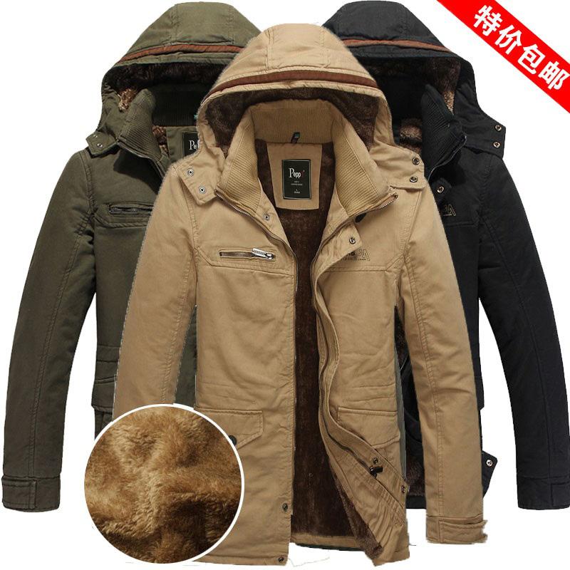 秋冬男装加绒加厚大码夹克棉衣袄服潮青年中长款防寒修身长袖外套
