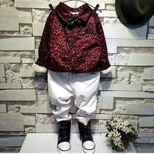 Children's wear winter 2014 new tide boys boutique with velvet leopard shirt