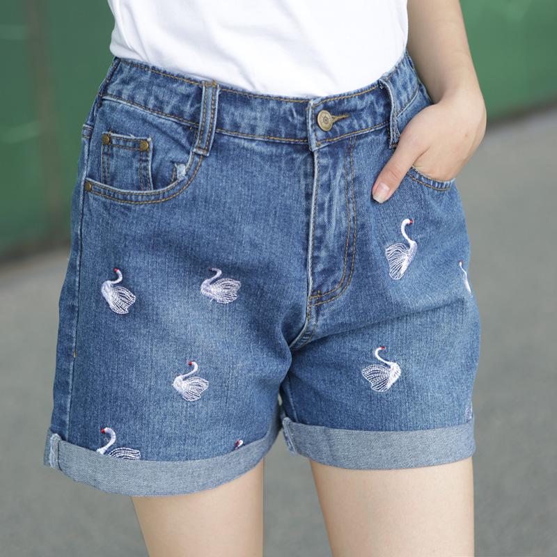 2015春夏季薄款韩国中腰五分裤牛仔短裤女潮卷边大码宽松显瘦热裤
