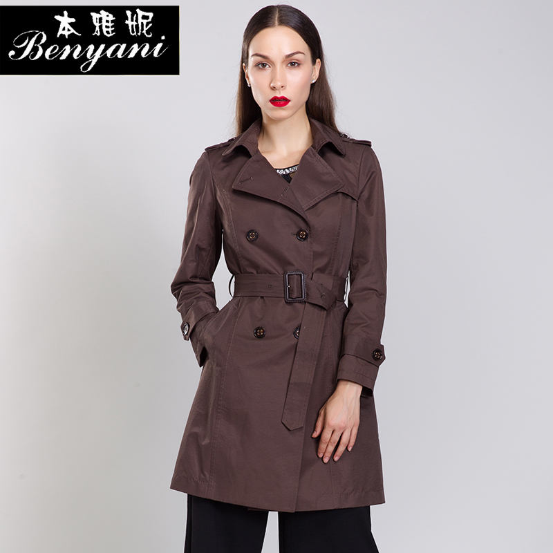 本雅妮2016秋季新款女式风衣韩版女装外套双排扣修身中长款防风衣