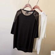夏莫代尔雪纺拼接圆领纯色宽松中长款t恤女大码打底衫T恤