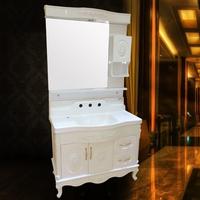 新款欧式PVC卫浴柜 奢华款白色经典雕花圆弧台面100cm 0855升级款
