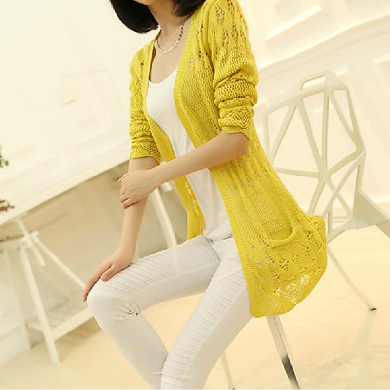新款韩版修身中长款女装针织衫开衫镂空薄夏装口袋外套
