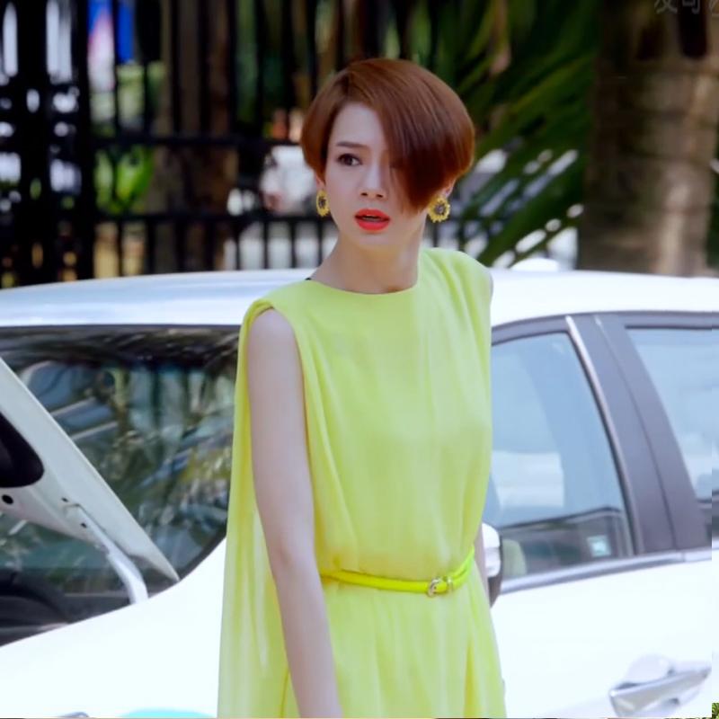 爱情回来了2014戚薇明亮同款黄色连衣裙无袖雪纺明星款女装连衣裙