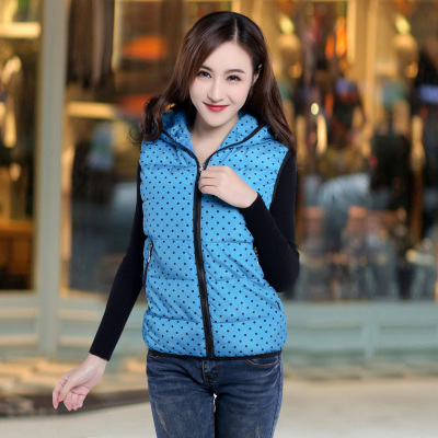 Ningshi Hao stroke cotton vest female autumn and winter 2014 new Korean version of a short section of cotton hooded vest women vest Slim