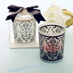 Quinceanera Decoration LZ016 Damask Glass candle Holder