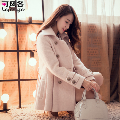 Each can wind woolen coat long section of female Korean autumn and winter 2014 women's wool coat Slim small fragrant wind jacket