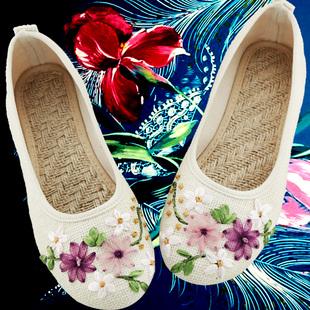 春夏女鞋老北京布鞋民族风白色绣花鞋子平底妈妈亚麻大码单鞋