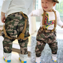 The 1-2-3-4 years old children's clothing boy camouflage straps trousers the new boy in the spring and autumn 2014 South Korea PP haroun pants