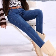 Winter added ms velvet thickening jeans trousers waist and feet bigger sizes show thin pencil pants to keep warm mink wool trousers