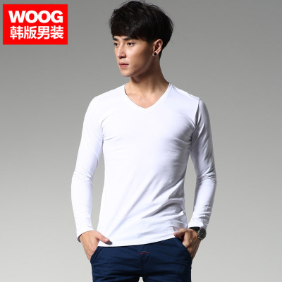 WOOG2014 Hitz men's V-neck long-sleeved white T-shirt tide Korean Slim solid color bottoming shirt compassionate
