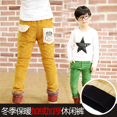 2014 Dongkuan children's casual corduroy trousers boy pants Korean children's clothing plus thick cashmere big Trousers