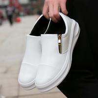 夏季休闲鞋秋鞋韩版百搭皮鞋青少年白色男鞋子个性潮男拉链潮鞋子