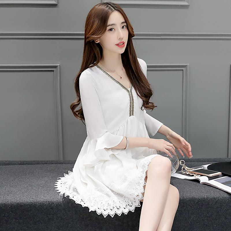 裙新款_连衣裙女夏中长款2016新款女装韩版大码宽松荷叶边中袖蕾丝雪纺裙