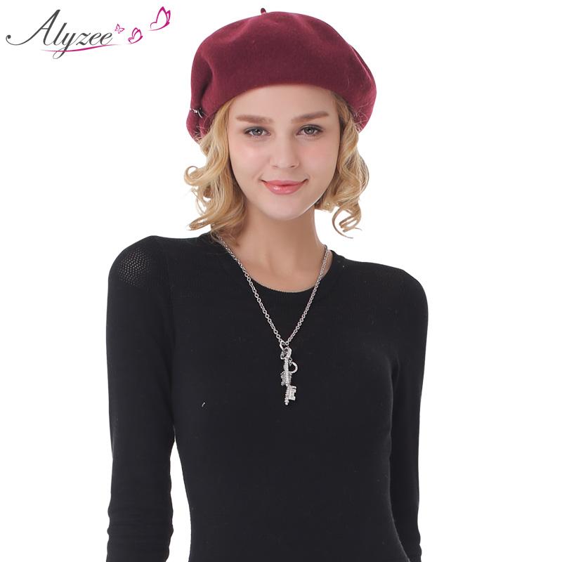 Alyzee爱丽榭 2015秋冬新品女士纯色贝雷帽 羊毛针织英伦复古帽子