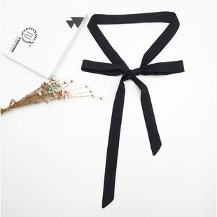 超细蝴蝶结飘带领巾领带丝巾衬衫装饰黑色细窄长条欧美男女发带