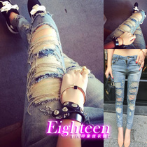 In the autumn of 2014 new fan in Europe women F85 fashion tide women sexy slim slim hole chain jeans