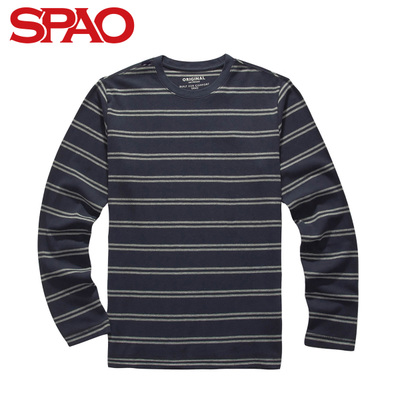 SPAO Korea new winter clothing Love conventional models striped men's long-sleeved knit T-shirt SPLA348C11