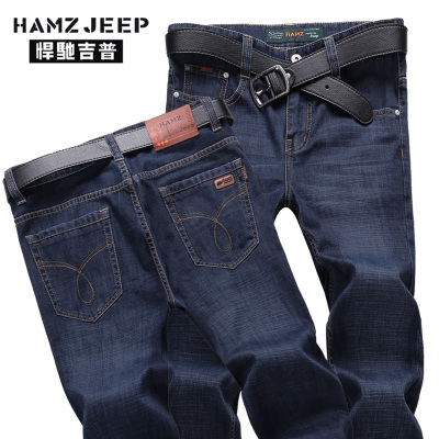 HAMZ JEEP autumn and winter men's jeans trousers Slim waist straight men's long pants casual loose tide