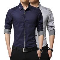 新款秋季男士长袖衬衫韩版修身纯棉商务衬衣免烫青年常规休闲男装