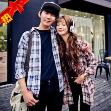 2015 spring and summer of cultivate one's morality design fashion long sweethearts outfit grid printed shirts render long-sleeved shirt