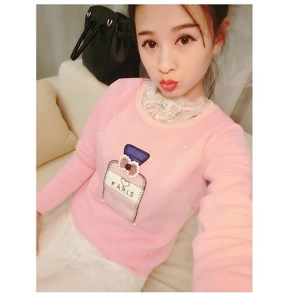 韩版新款女装订珠贴布香水瓶长袖卫衣