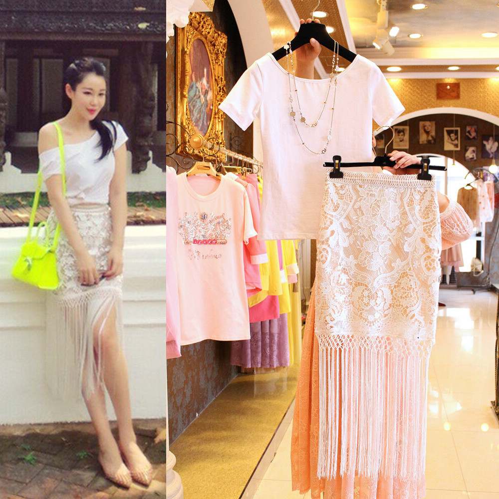 2015 spring and summer 5749 Milanduoge Left Bank Xiao T-shirt with embroidered openwork crochet lace fringed skirt suit
