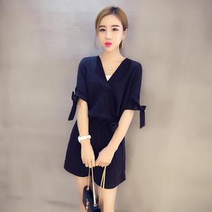 2016夏装新款连衣裤 韩版显瘦v领系带短袖高腰连体裤短裤 女潮