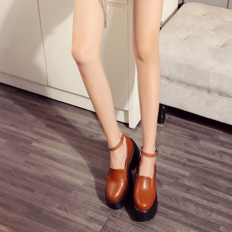 Ankle strap Square round toe platform low-heeled shoes