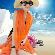 Lécran solaire anti - UV de couleur pure soie serviette de plage longue écharpe écharpe super femme au printemps et à lautomne un chiffon