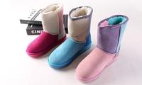 2015冬季新款时尚中筒雪地靴女加厚保暖磨砂牛皮圆头平跟套筒靴子