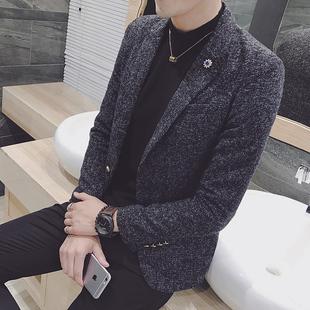 冬季格子男士小西装毛呢西服潮流加厚小码发型师外套